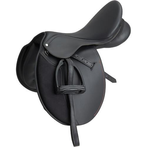 Selle polyvalente synthétique équipée équitation poney SYNTHIA noir 15''