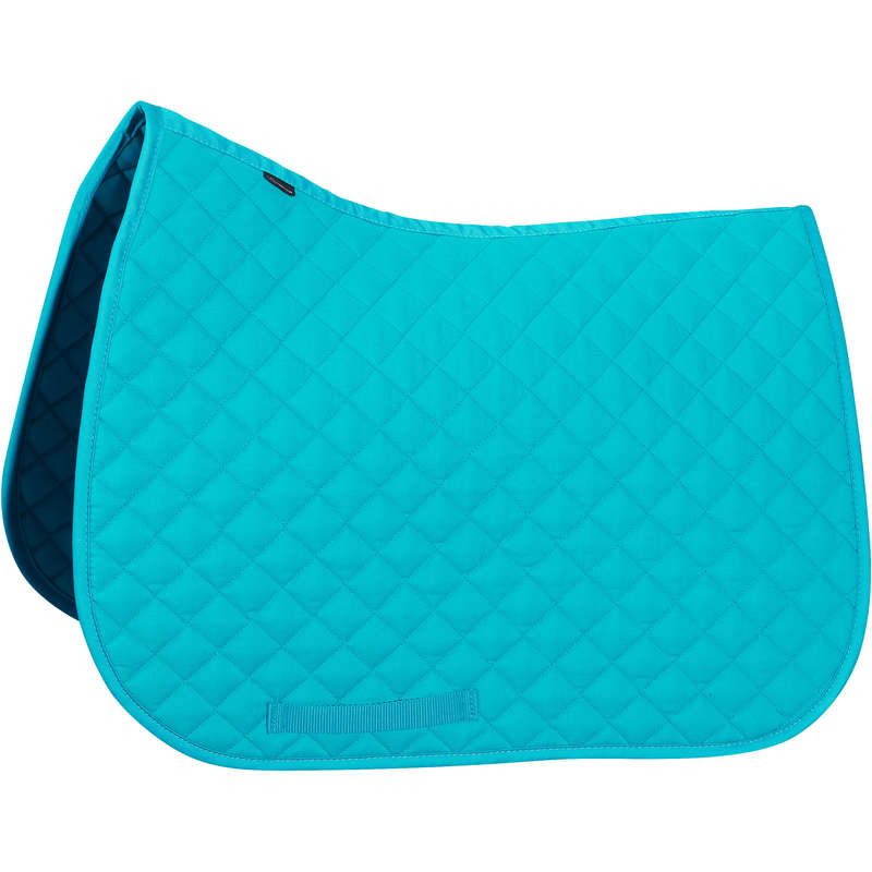 HORSE SADDLE PADS Horse Riding - Schooling Cloth - Turquoise FOUGANZA - Saddlery and Tack
