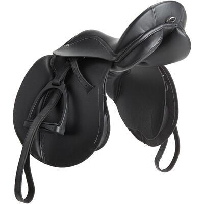 רכיבה - אוכף אימונים מאובזר באופן מלא מעור 17½_QUOTE_ לשימוש כללי - שחור