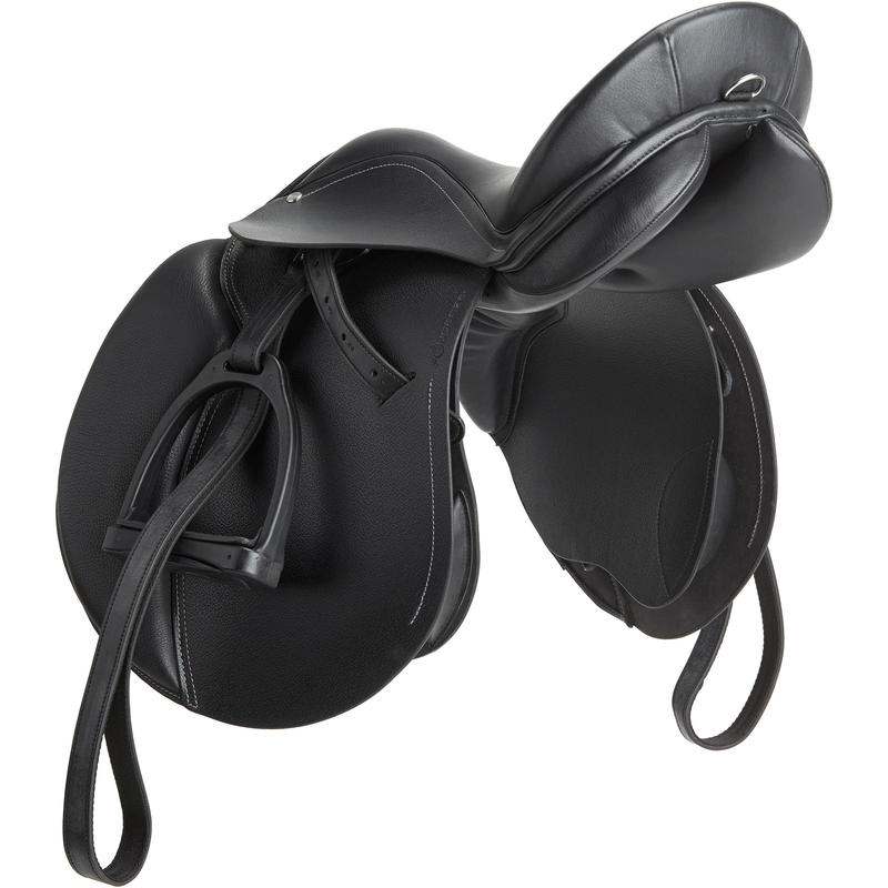"""Selle polyvalente en cuir équipée équitation cheval SCHOOLING noir 17""""5"""