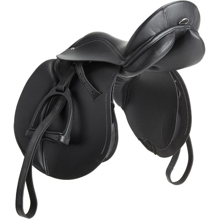 """Leren veelzijdigheidszadel Schooling ruitersport paard pony zwart 16""""5"""