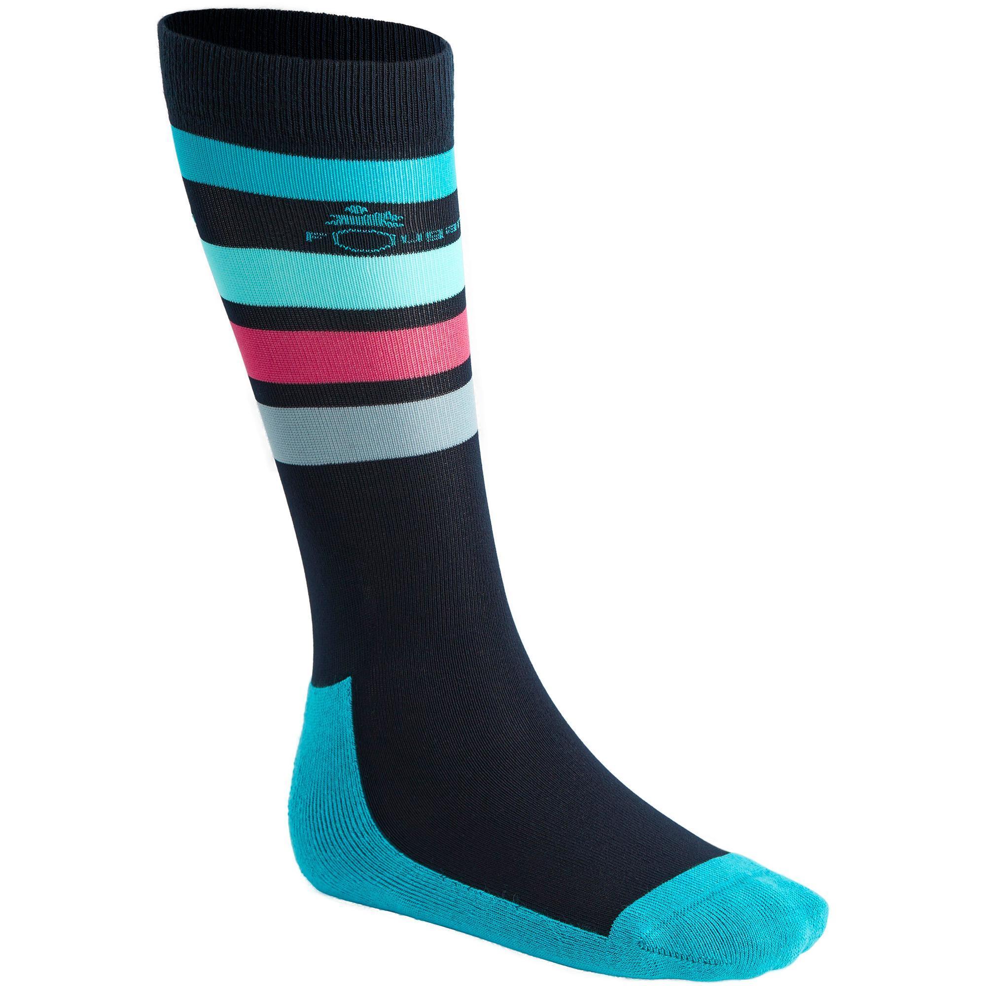 chaussettes quitation enfant basic bleu marine bleu turquoise x1 paire fouganza. Black Bedroom Furniture Sets. Home Design Ideas