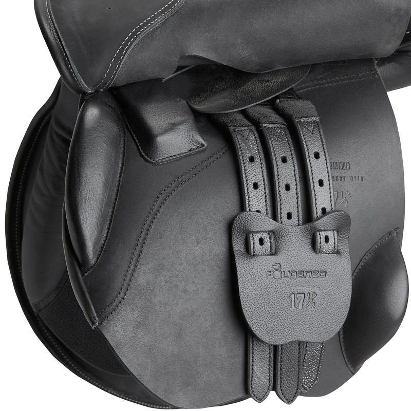 Schooling 16.5_QUOTE_ Fully-Fitted Horse Riding General Purpose Leather Saddle - Black