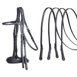 Hoofdstel plus teugels voor paarden ruitersport Paddock zwart