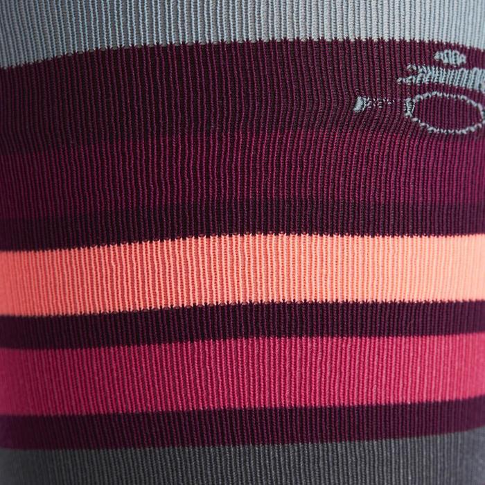 Calcetines equitación mujer SKS100 Ciruela con rayas rosas x 1 par