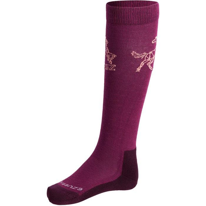 Chaussettes équitation enfant ORIGAMI rose et prune X2 paires