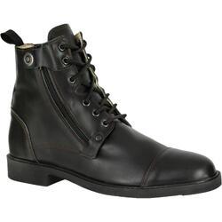 成人款訓練用綁帶皮革短馬靴700-黑色