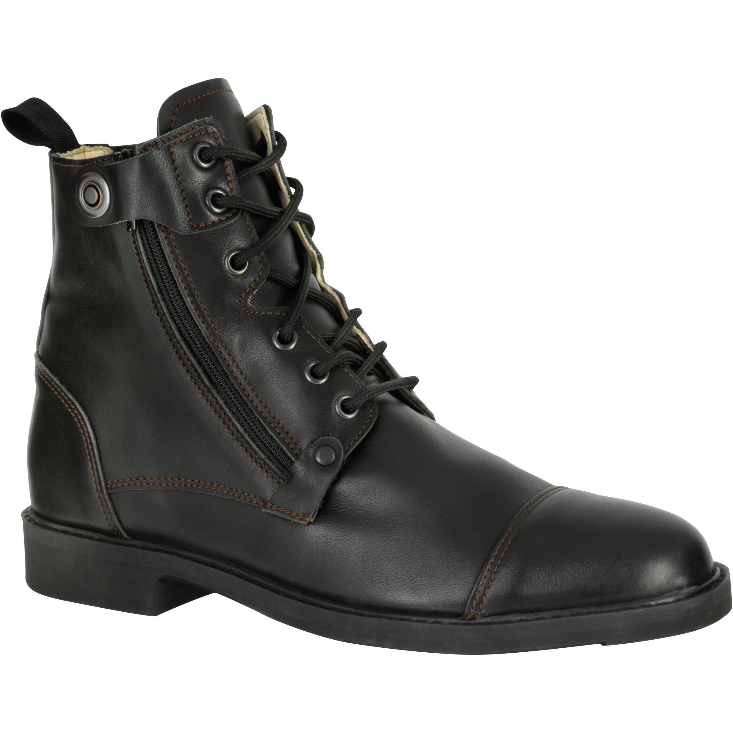 Reitstiefeletten Training 700 geschnürt Leder Erwachsene schwarz | Schuhe > Sportschuhe > Reitstiefel | Schwarz | Leder | Fouganza