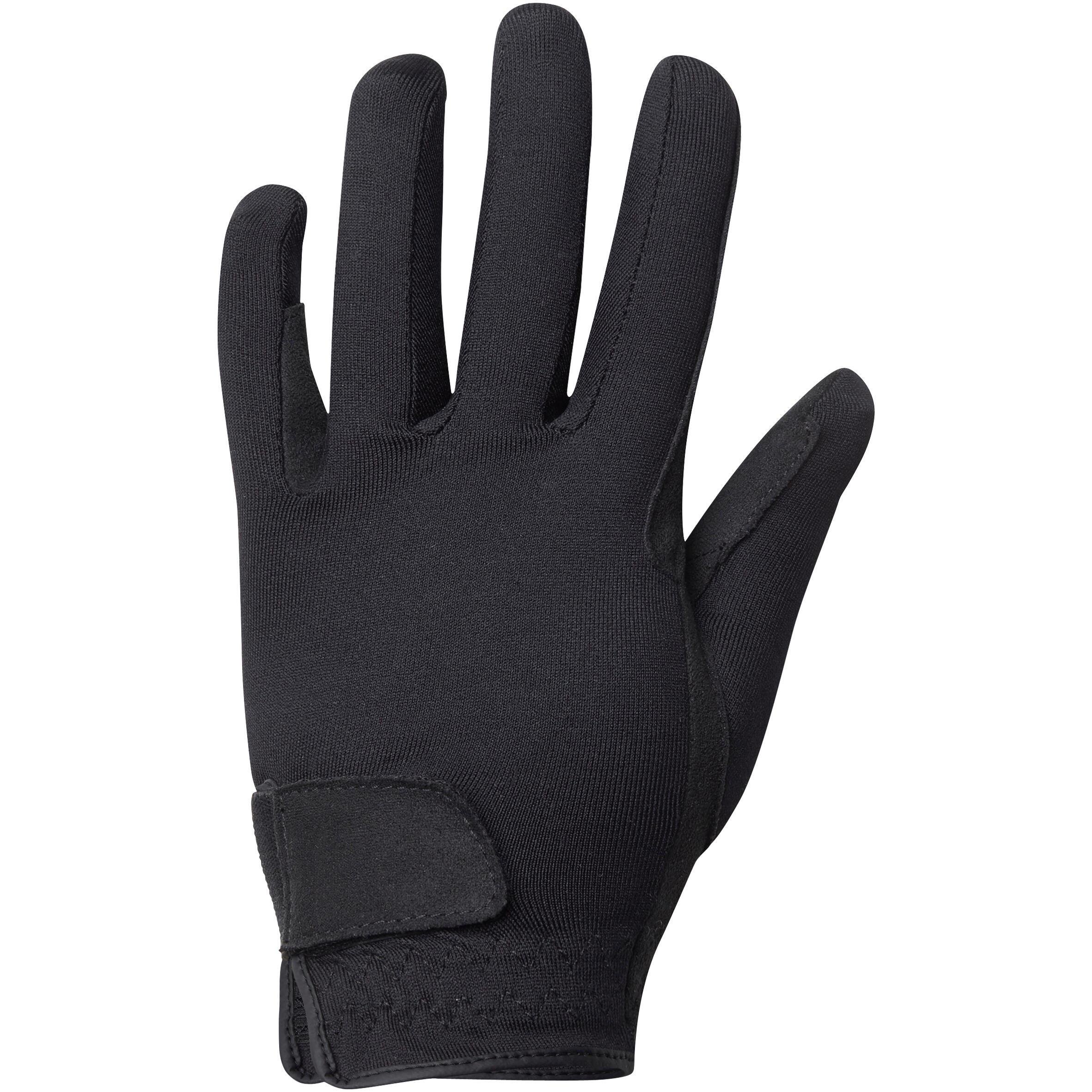 Basic Children's Horse Riding Gloves - Hitam