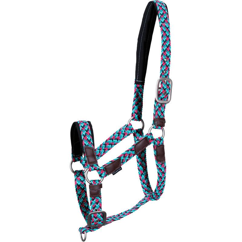ขลุมจูงม้าแบบถักสำหรับม้าโต/ลูกม้า (สีฟ้า Turquoise)