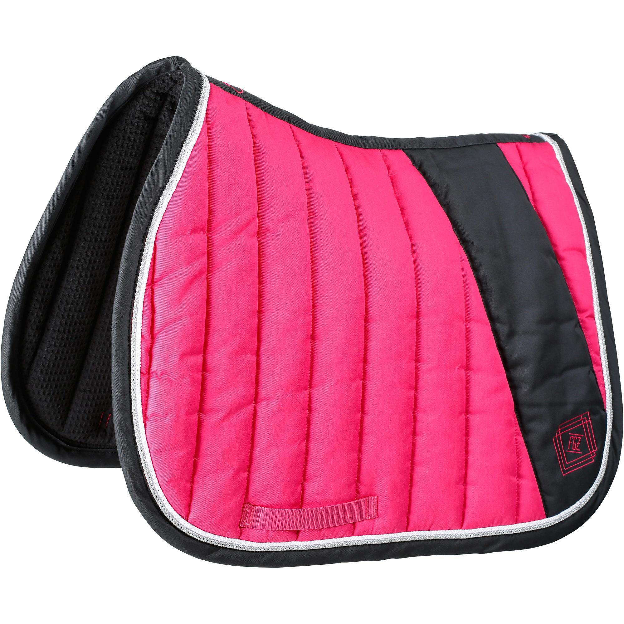 Tapis de selle quitation cheval jump rose fouganza - Decathlon equitation tapis ...