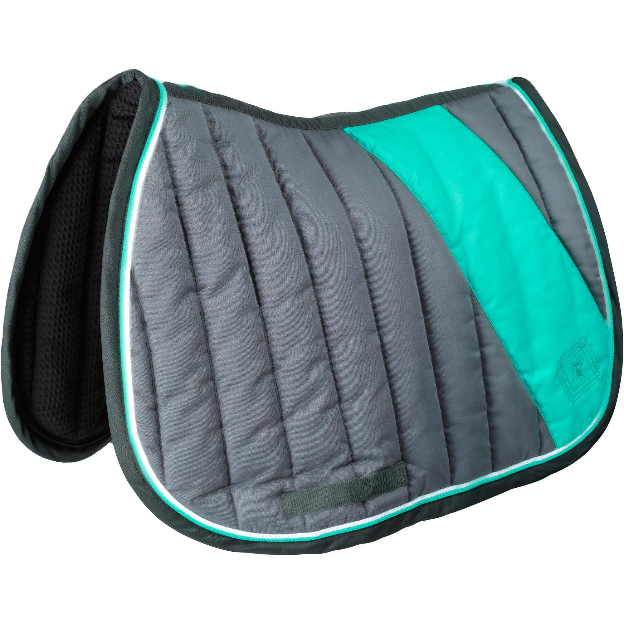 Tapis de selle quitation cheval jump vert fouganza Tapis cheval decathlon