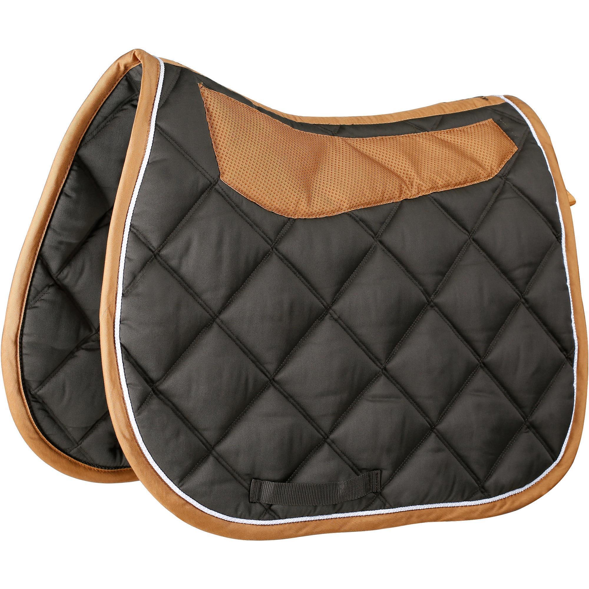 tapis de selle 233 quitation cheval grippy marron fouganza