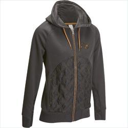 Damessweater SW500 ruitersport grijs en camel