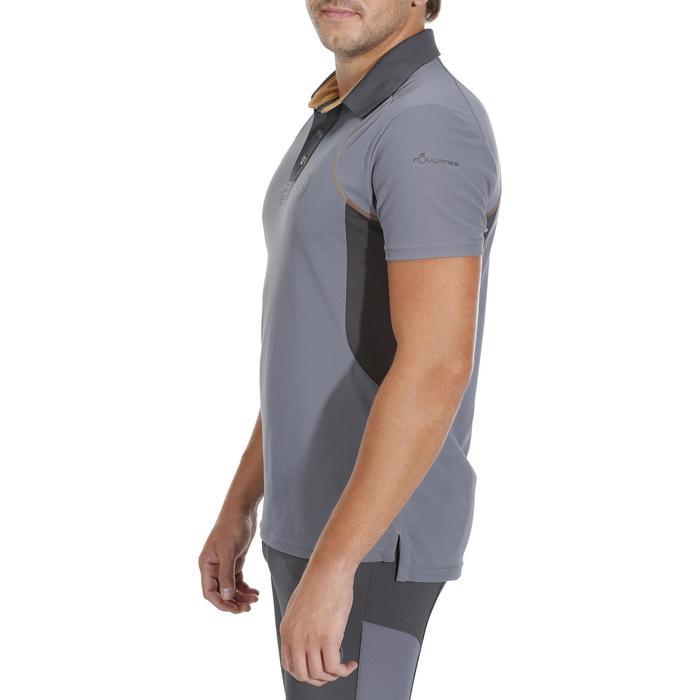 Reit-Poloshirt Kurzam PL500 Mesh Herren grau/camel