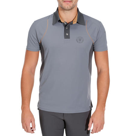 500 Mesh Short-Sleeved Horse Riding Polo Shirt - Grey/Camel