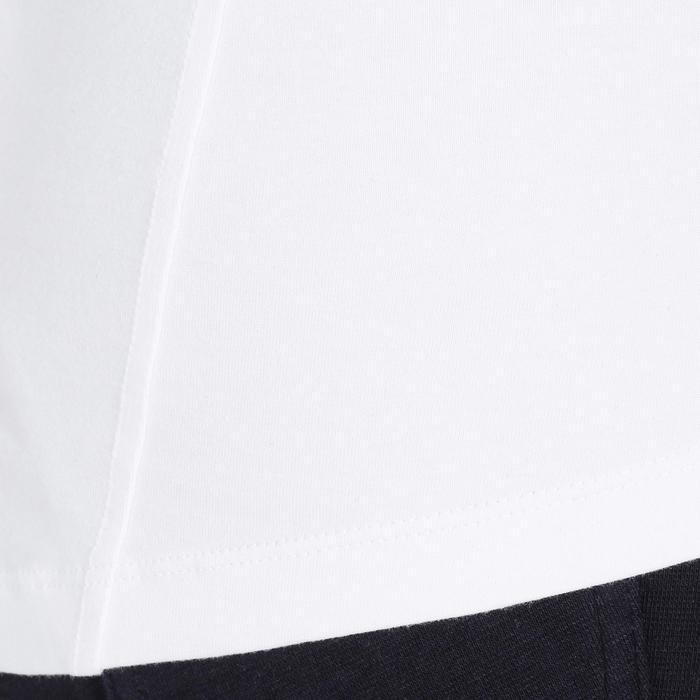 Polo manga corta de equitación mujer FLOWER blanco bolsillo bordado azul marino