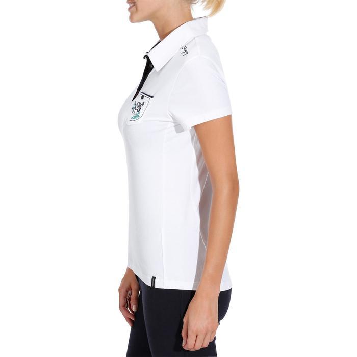 Polo manches courtes équitation femme FLOWER blanc poche brodée marine