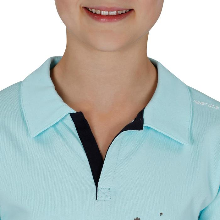 Polo de manga corta equitación niño FLOWER POWER azul claro