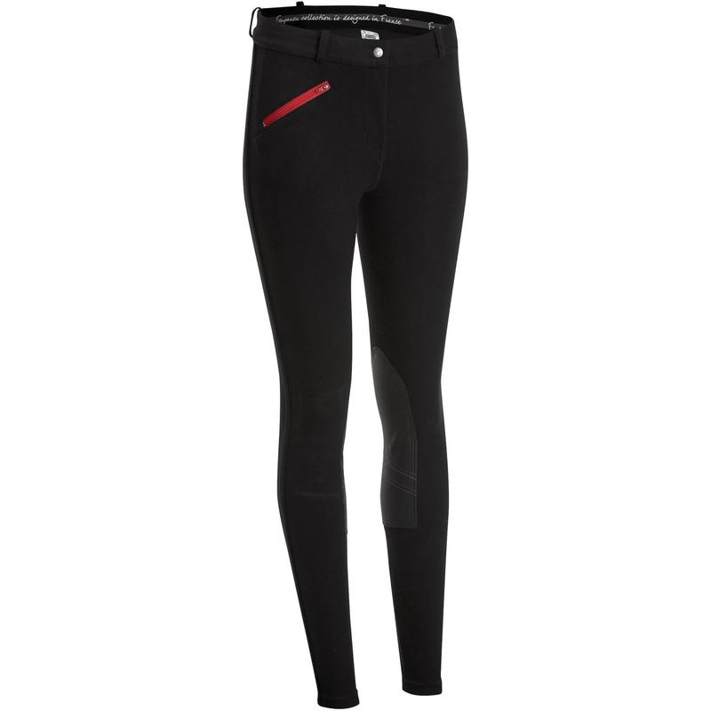 140 Women's Horse Riding Jodhpurs with Grippy Patches - Black