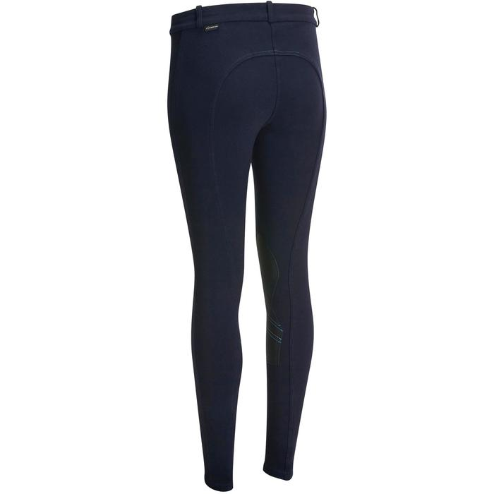 Pantalón equitación mujer 140 badanas adherentes azul marino