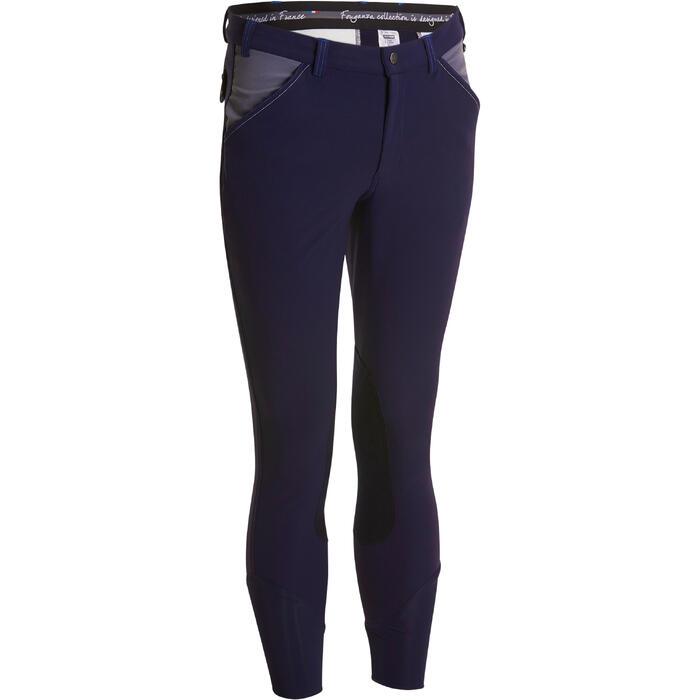 Pantalon équitation homme BR700 basanes gris et chevron - 1081584