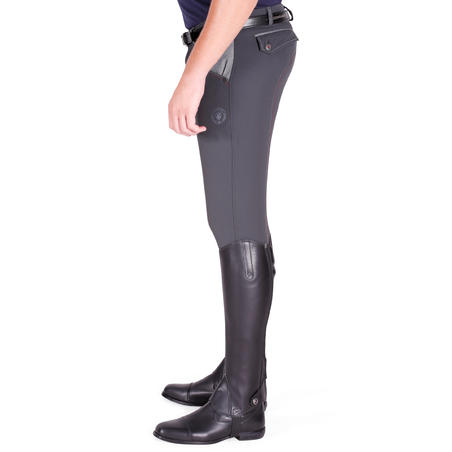 BR700 Horse Riding Patch Jodhpurs - Grey/Chevron