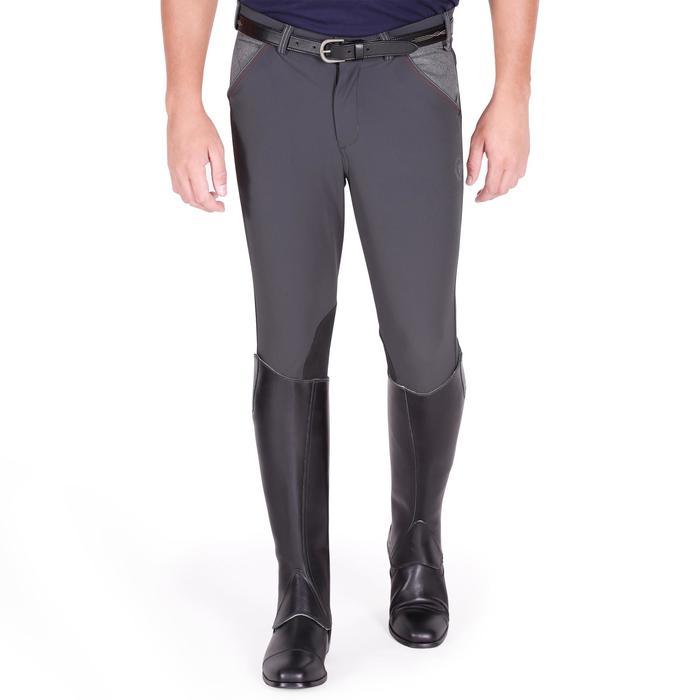Pantalon équitation homme BR700 basanes gris et chevron - 1081601