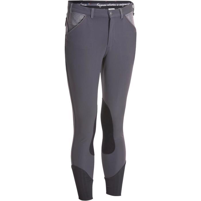 Pantalon équitation homme BR700 basanes gris et chevron - 1081603