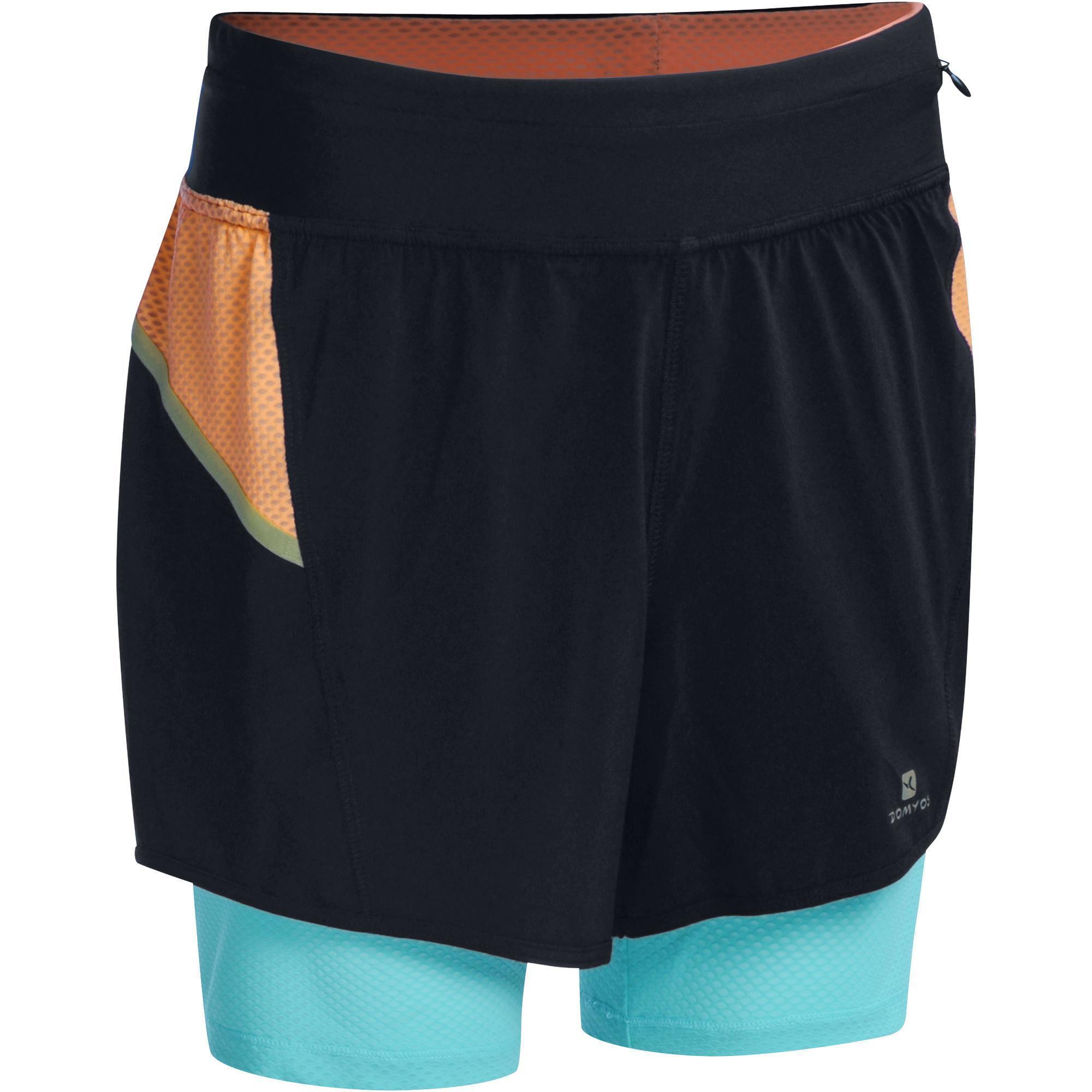 Short 2 en 1 respirant cardio femme orange et bleu energy - Tapis de course energetics power run 4 0 ...