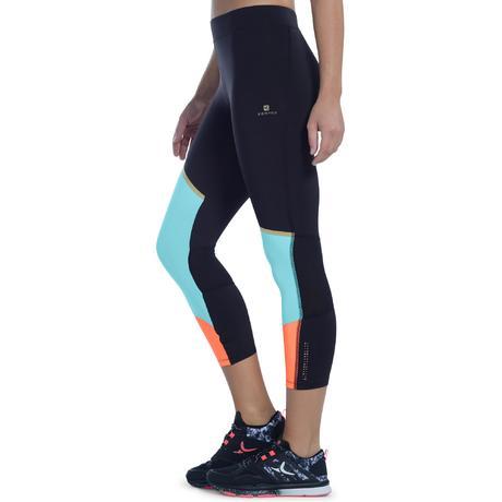 legging 7 8 respirant fitness cardio femme orange et bleu energy xtrem domyos by decathlon. Black Bedroom Furniture Sets. Home Design Ideas