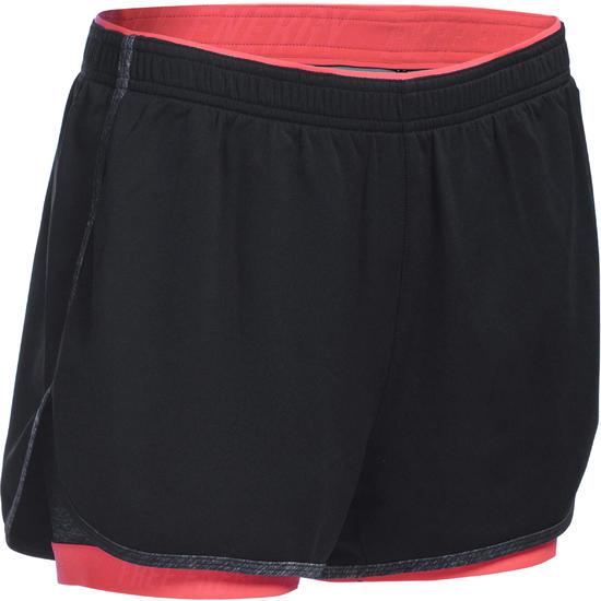 Short 2 in 1 fitness cardio dames zwart/roze Energy+ - 1082097