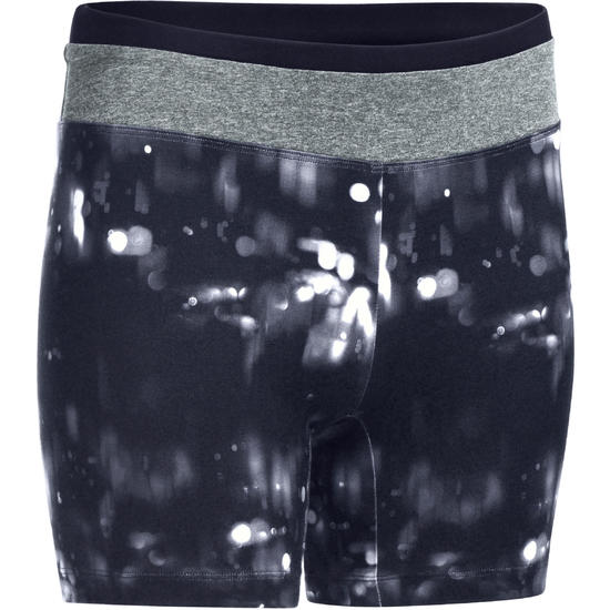 Aansluitende short fitness cardio dames zwart met contrasterende boord ENERGY - 1082255