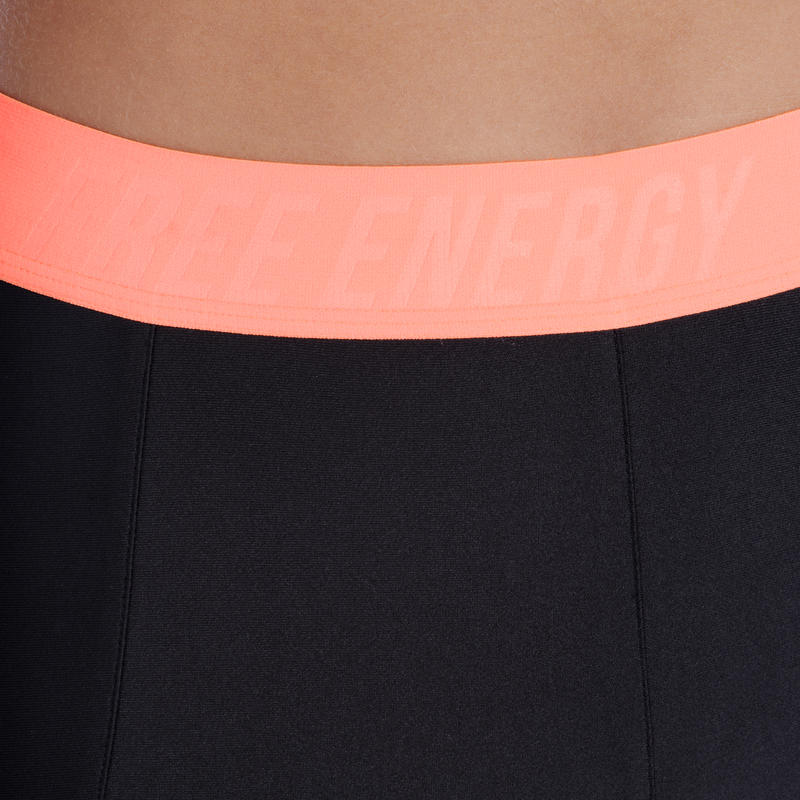 Energy+ Women's Breathable Cardio Fitness Leggings - Black/Orange