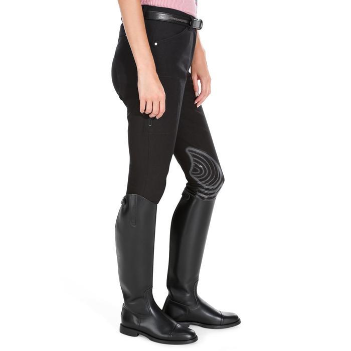 Reithose BR560 Grip Silikon-Kniebesatz Damen schwarz/grau