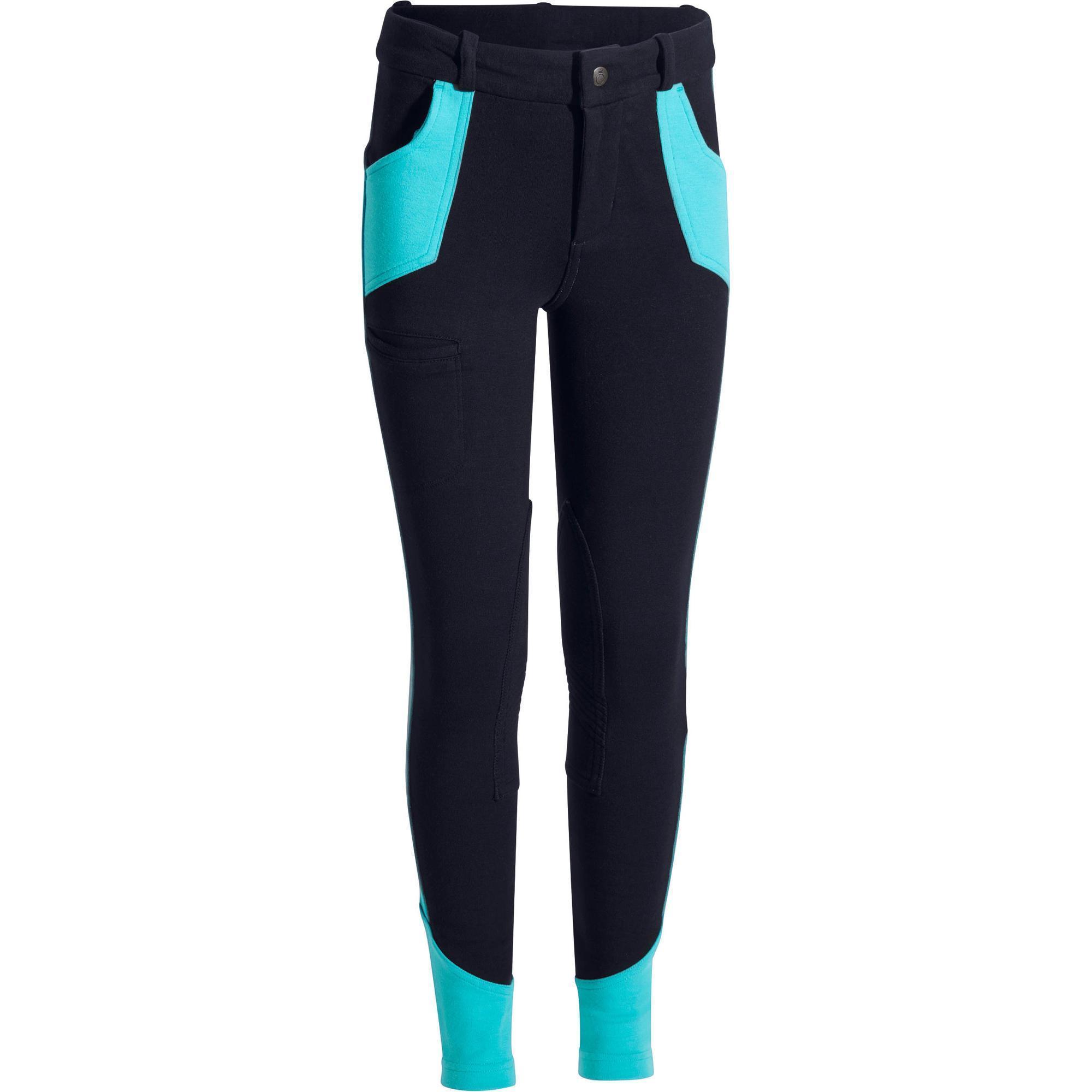 pantalon quitation enfant bicolo bleu marine bleu turquoise fouganza. Black Bedroom Furniture Sets. Home Design Ideas
