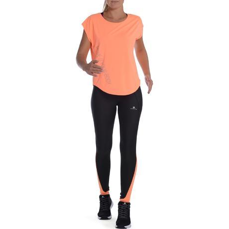 legging respirant fitness cardio femme noir et orange energy domyos by decathlon. Black Bedroom Furniture Sets. Home Design Ideas