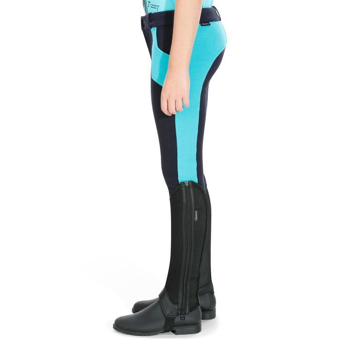 Pantalón equitación niños BR120 azul marino y turquesa
