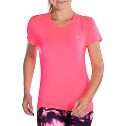 100 Women's Fitness Cardio Training T-Shirt - Neon Pink
