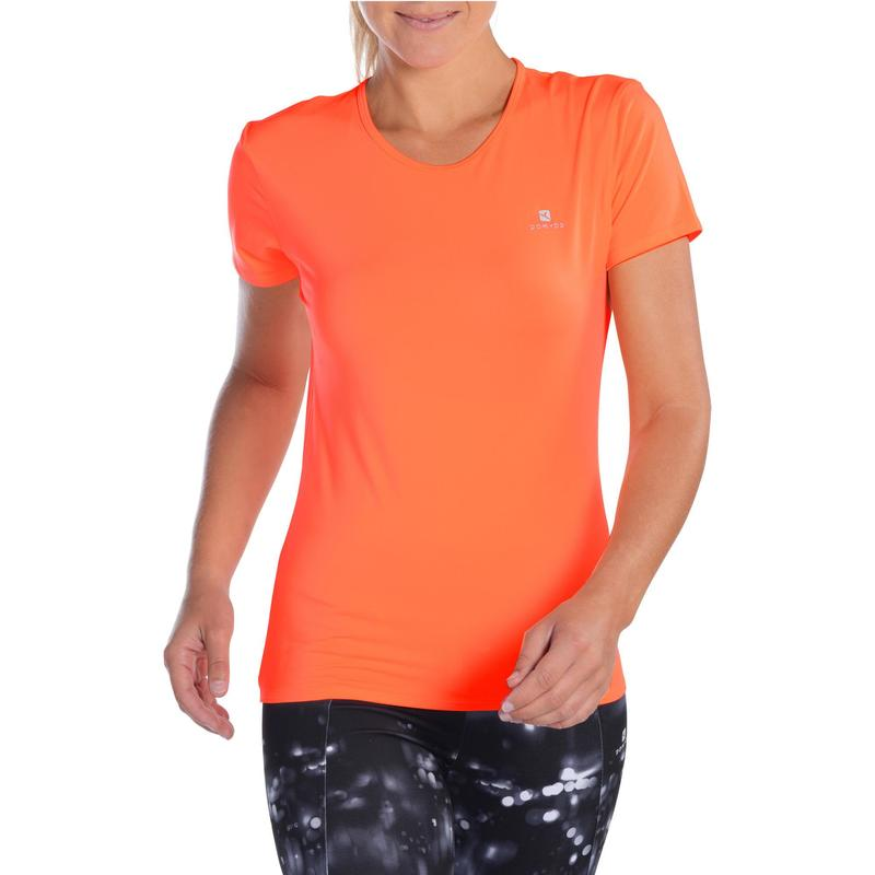 02406816f Energy Women's Cardio Fitness T-Shirt - Orange | Domyos by Decathlon