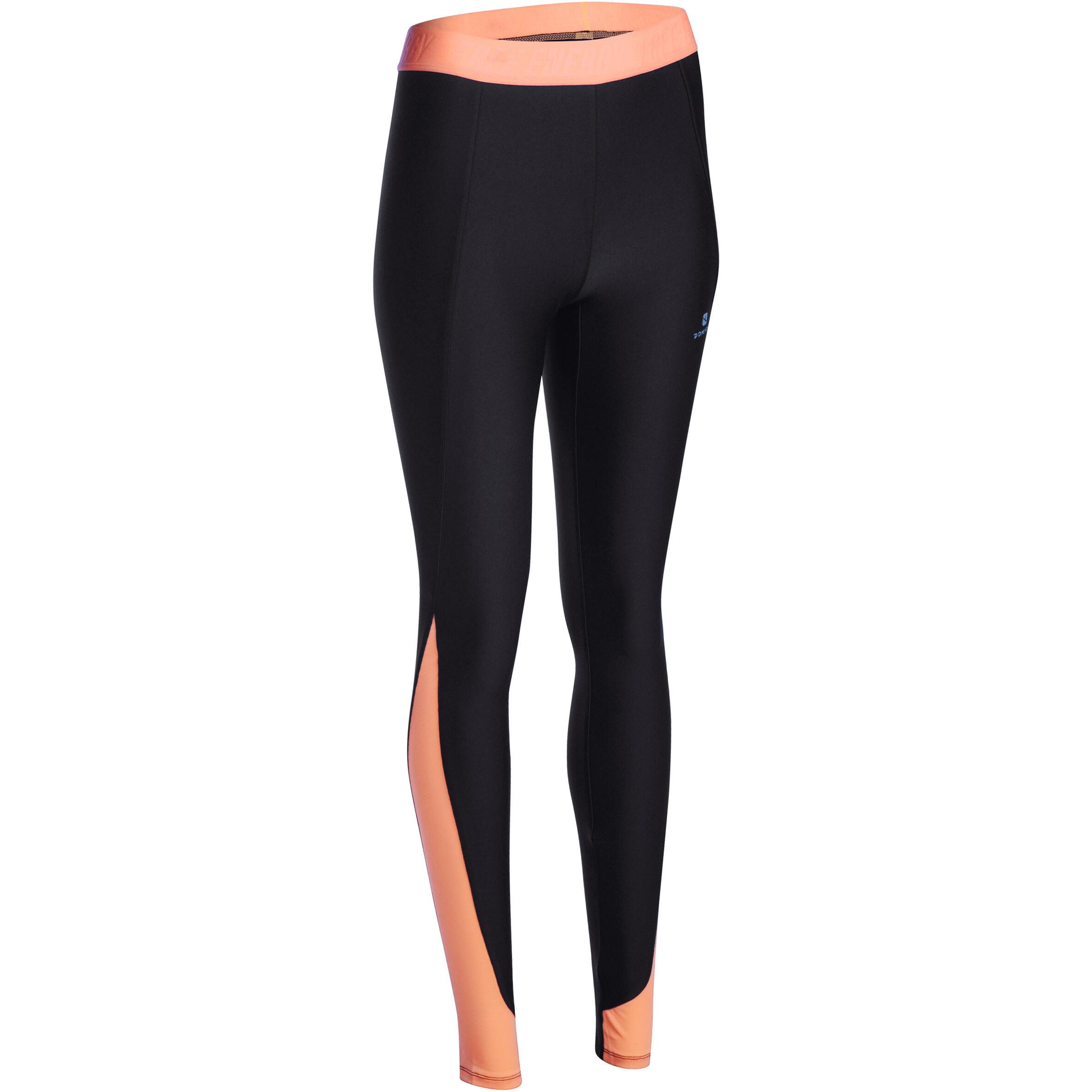 Energy+ Women's Breathable Cardio Fitness Leggings - Hitam/Jingga