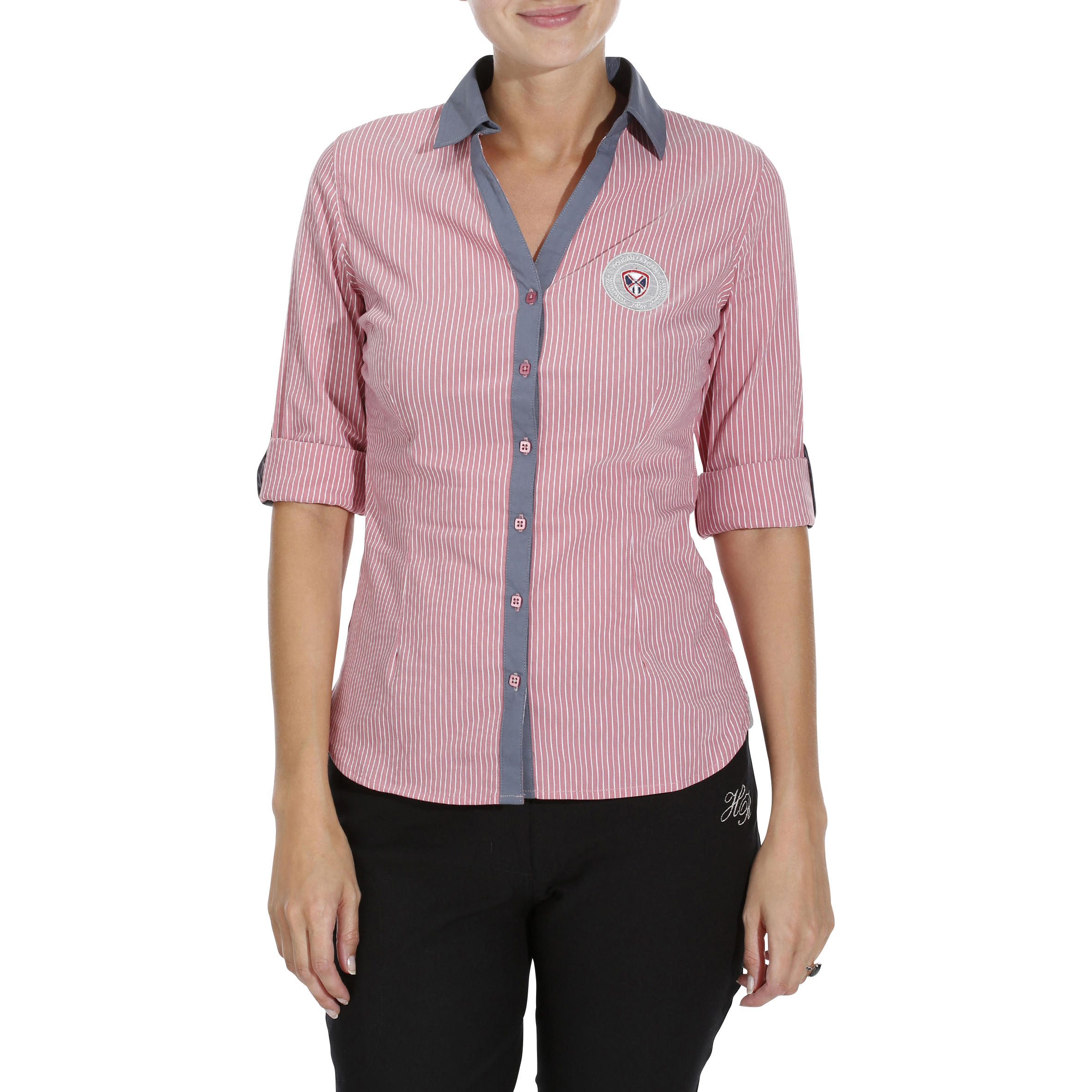 Okkso sarl Damesblouse Performer ruitersport gestreept roze/grijs
