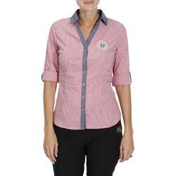 Damesblouse Performer ruitersport gestreept roze/grijs