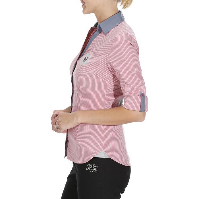 Chemise équitation femme PERFORMER rose rayé gris - 1083090
