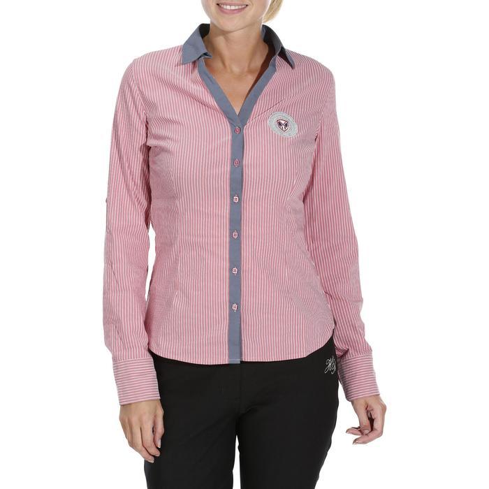 Chemise équitation femme PERFORMER rose rayé gris - 1083104
