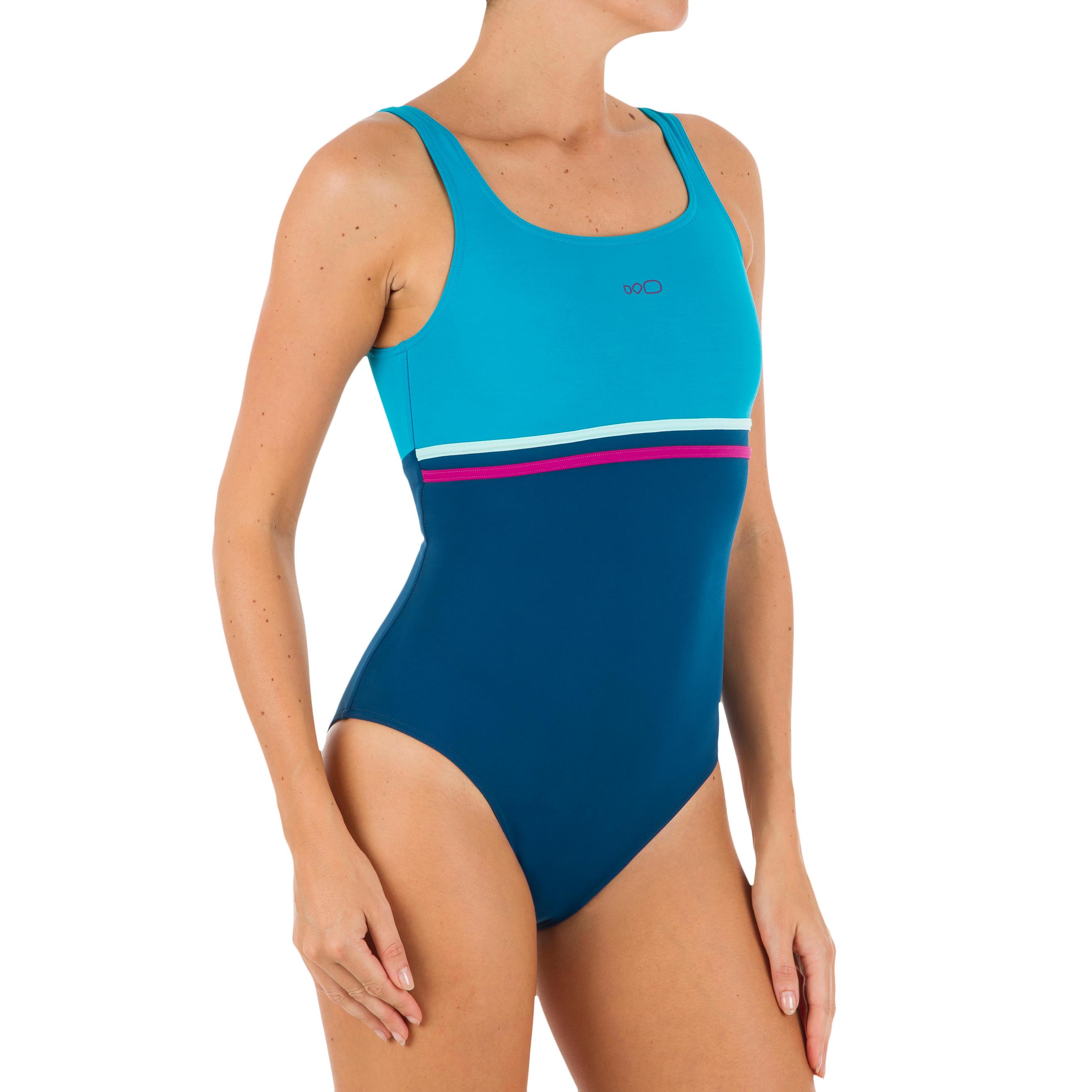 Maillot de bain de natation femme une pièce Loran gris bleu