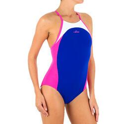 Meisjesbadpak voor zwemmen Kamiye Light panel blauw/roze