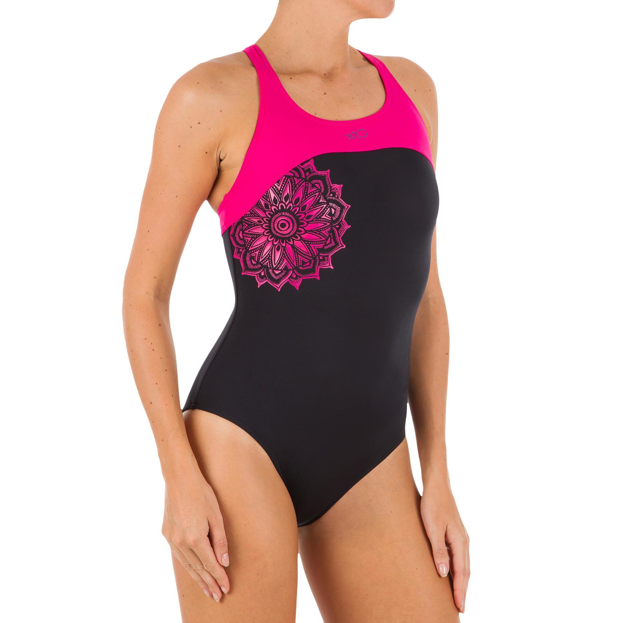 Leony Cut Women S One Piece Swimsuit Pink Black Nabaiji