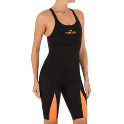 Traje de competición de natación Fina mujer Naranja Negro
