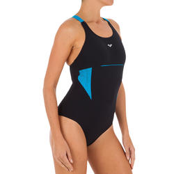 Damesbadpak Vivien voor aquagym zwart/blauw
